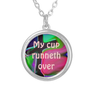 MyCupRunnethOverキリスト教のネックレス シルバープレートネックレス