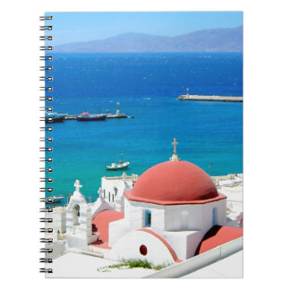 Mykonosのギリシャの島の丘の頂上 ノートブック