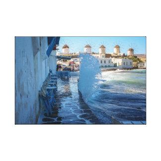 Mykonosの写真: 風車そして水の壁 キャンバスプリント