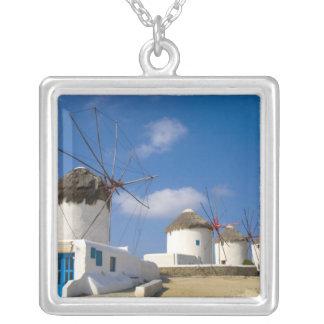 Mykonosの島の美しい風車、 シルバープレートネックレス