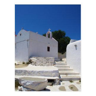 Mykonosの島ギリシャの教会 ポストカード