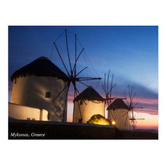 Mykonosの風車の日没、ギリシャ ポストカード