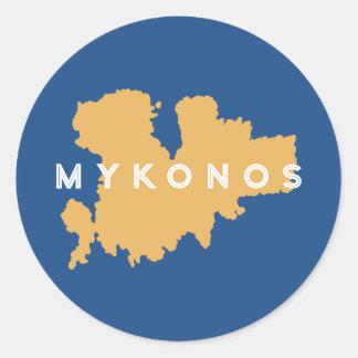 Mykonosギリシャのシルエット ラウンドシール