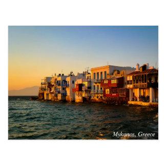 Mykonosベニスの少し四分の一日没、ギリシャ ポストカード