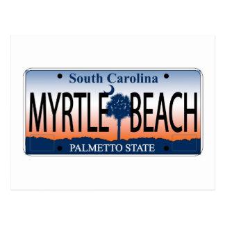 Myrtle Beachのナンバープレート ポストカード