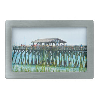 Myrtle Beachの州立公園のFisdhing桟橋 長方形ベルトバックル
