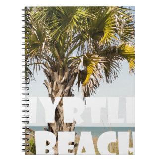Myrtle Beachサウスカロライナのヤシの木の休暇の` ノートブック