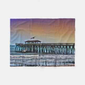 Myrtle Beach -フリースブランケットの桟橋の絵画 フリースブランケット