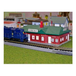Nのスケール・モデルの列車の村 ポストカード