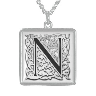 """Nの""""銀のBesque""""の最初のモノグラムのネックレス スターリングシルバーネックレス"""