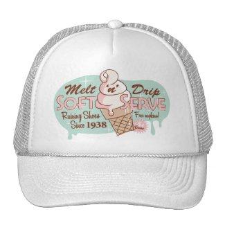 「n」の滴りの柔らかいサーブのアイスクリームの帽子を溶かして下さい(白い)