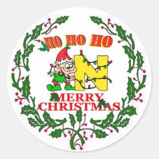 N -クリスマスの小妖精や小人のモノグラムのシール ラウンドシール