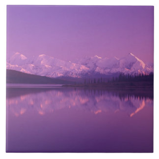 NA、米国、アラスカ、Denali NPの均等になるwonder湖 タイル