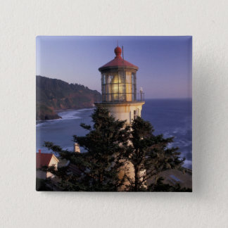 NA、米国、オレゴンのHecetaのヘッド灯台、 5.1cm 正方形バッジ