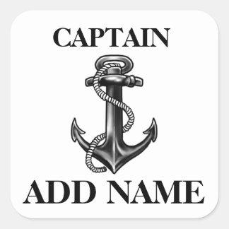Name Navy Anchorおよびロープ名前入りな大尉 スクエアシール