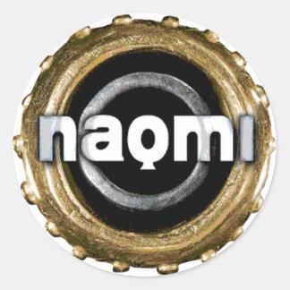 Naomiのロゴのステッカー ラウンドシール