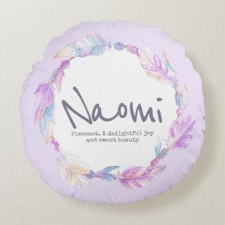 Naomiの円形の枕を意味する羽の水彩画の名前 ラウンドクッション