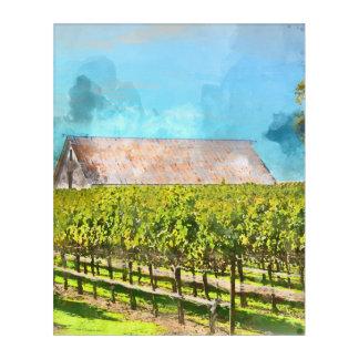 Napa Valleyカリフォルニアのブドウ園の納屋 アクリルウォールアート
