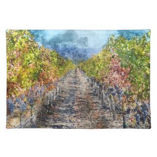 Napa Valleyカリフォルニアの秋のブドウ園 ランチョンマット