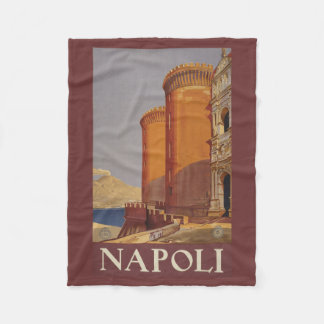 Napoli (ナポリ)イタリアのヴィンテージ旅行フリース フリースブランケット