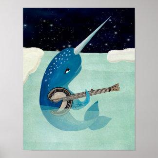 NarwhalのAquarelle -バンジョーを演奏するNarwhal ポスター