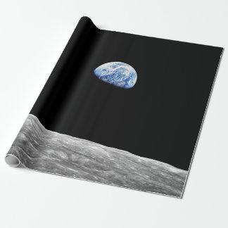 NASAアポロ8 Earthriseの月月軌道写真 ラッピングペーパー