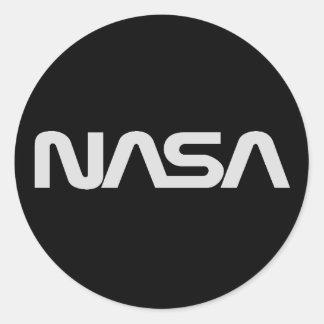 NASA灰色みみずのロゴ ラウンドシール