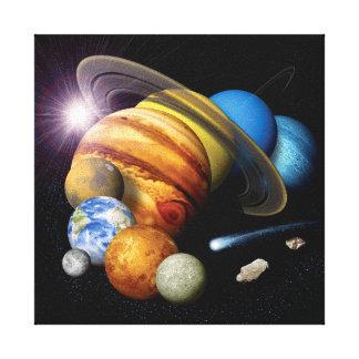 NASA JPLの太陽系の惑星のモンタージュの宇宙の写真 キャンバスプリント