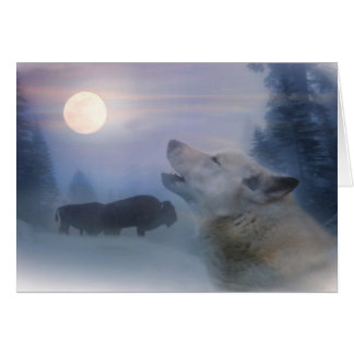 Native American Holiday Cards Wolf and Buffalo カード