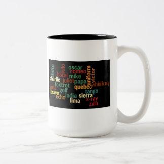 Natoフォネティックコード(暗い背景) ツートーンマグカップ