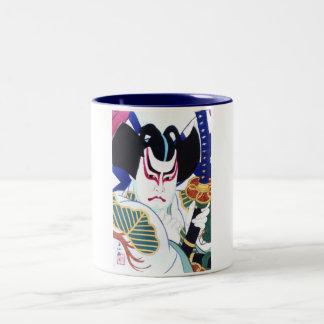 Natori Shunsenの名取春仙による日本人のKabuki俳優の芸術 ツートーンマグカップ