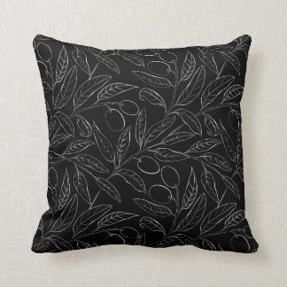 Natural Olive Decorative Throw Pillow in Black クッション