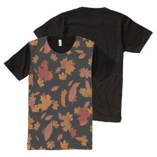 Nature Falling Autumn Leaves on Custom Black オールオーバープリントT シャツ