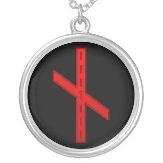NauthizのRuneの赤 シルバープレートネックレス