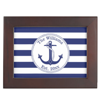 Nautical Anchor Navy Stripes Add Name and Photo ジュエリーボックス