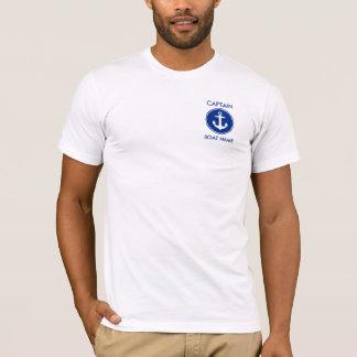 nautical Blue Anchor Personalized大尉のTシャツ Tシャツ
