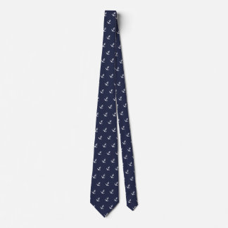 Nautical Blue and White Anchor Tie カスタムタイ