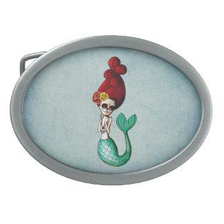 nautical Dia de Los Muertos Mermaid Catrina 卵形バックル