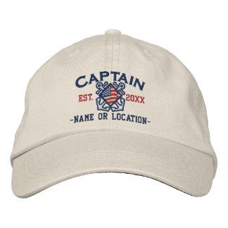nautical Embroidery名前入りなアメリカの大尉 刺繍入りキャップ