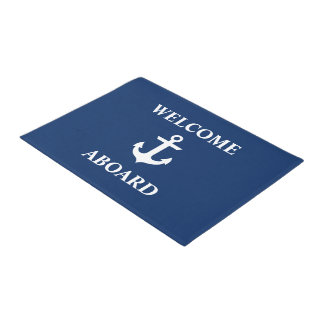 Nautical Welcome Aboard Navy Blue ドアマット