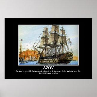Navarino 1827年の後のロシアのな船アゾフ ポスター