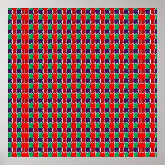 NAVIN Joshiによる強いカラーグラフィックススクエアパターン ポスター