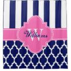 Navy Blue Hot Pink XL Moroccan #4 Stripe CB1INR シャワーカーテン