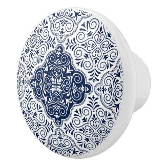 Navy-Blue Moroccan Floral Mandala Pattern セラミックノブ