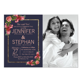 Navy Blue Pink Floral Gold Engagement カード