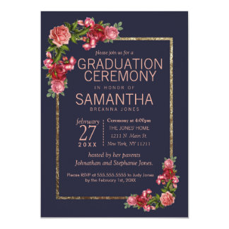 Navy Blue Pink Floral Gold Graduation Ceremony カード