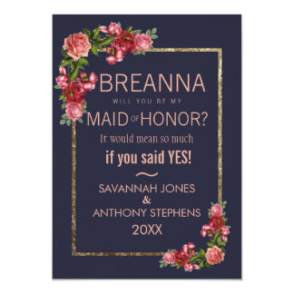 Navy Blue Pink Floral Gold Maid of Honor カード