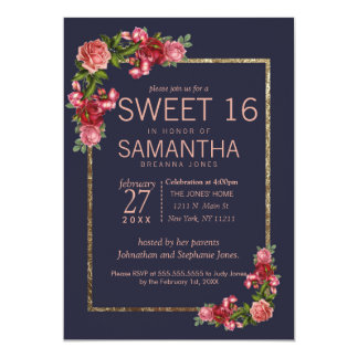 Navy Blue Pink Floral Gold Sweet 16 Invitations カード