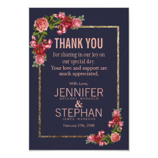 Navy Blue Pink Floral Gold Thank You Cards カード