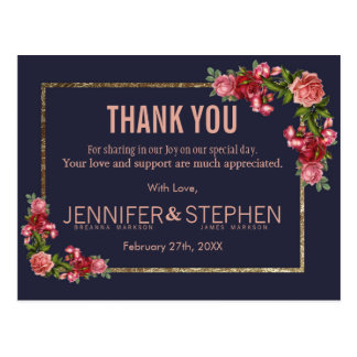 Navy Blue Pink Floral Gold Thank You Postcards ポストカード
